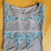 Sundance Catalog Gray Embroidered Floral Tee Shirt Top Xl Nwot