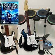 Ps5 Ps3 Rock Band 2 Special Edition Bundle Kit Guitar Drums Game And Mic