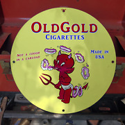 Vintage 1969 Old Gold Cigarettes Tobacco Company Porcelain Gas And Oil Pump Sign