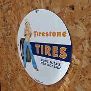 Vintage 1938 Firestone Tires And039and039most Miles Per Dollarand039and039 Porcelain Gas And Oil Sign