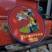 Vintage 1958 Firestone Tires And Rubber Company Porcelain Gas And Oil Pump Sign