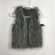 Arizona Jean Co Womens Feather Vest Black Grey Spotted Print Size Small 7/8