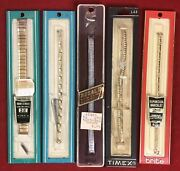Vintage Lot Of Wristwatch Watch Bands 1950and039s- 60and039s Roger Williams Regal Timex
