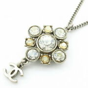 Necklace Metal Material Rhinestone Silver Yellow Coco Mark Secondhand