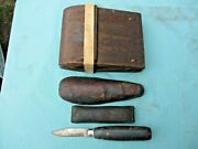 Vintage Clamp Or Clam + 2 Leather Objects And 1 Dexter Knife