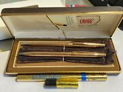 Vintage 1/20 14k Gold Filled Cross Pen And Pencil Set In Original Box And Sleeve