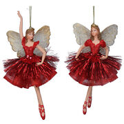 2 X Gisela Graham Red And Gold Hanging Fairy Princess Christmas Tree Decorations