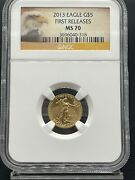 2013 U.s. Gold Eagle 5 Dollar 1/10 Oz. First Releases Ngc Ms70