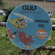 Vintage 1964 Gulf Aircraft Aviation Engine Oil Porcelain Gas And Oil Pump Sign