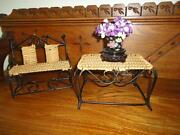Antique Doll Furniture Wicker Metal Bench Chair And Table Chinese Porcelain Vase