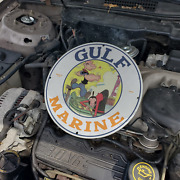 Vintage 1966 Gulf Marine Oil And039and039popeye And Olive Oyland039and039 Porcelain Gas And Oil Sign
