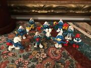Schleich Peyo Vintage 1970and039s 1980s Smurf Rubber Toy Figures Lot Of 10 Smurfs