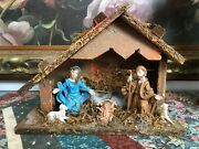Antique Made In Italy Nativity Wooden Stable Baby Jesus Rubber Figures 9.5x7x4