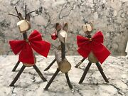 Christmas Reindeer Family 3 Handmade Carved Wood Branches Sticks Ornaments Ooak