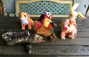 Zodiac Beanie Baby Lot Of 6 Rabbit Monkey Snake Pig Rooster Tiger Vintage Ty