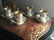 Antique Sevres French Porcelain Gold Napoleonic Roman Intaglio 4 Cups And Saucers