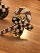 New Mackenzie Childs Courtly Check Christmas Themed Napkin Rings Lot 4