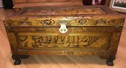 Vintage Hand Carved Cedar Rare Sailboat Wooden Trunk Chest Size 14x27x13