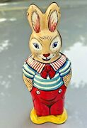 Antique Wind Up Rabbit Bunny Easter Tin Toy J. Chein And Co. Usa 1950's