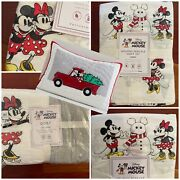 Pottery Barn Kids 7pc Holiday Mickey Mouse Queen Sheets Quilt + 2 Shams X-mas