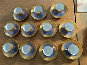 Pickard China Blue And Gold Demitasse Set Of 11 Cups And 11 Saucers In Rose And Daisy