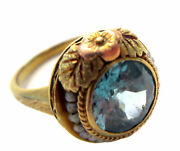 Art Nouveau - Antique Zircon And Pearl 14k Pink And Yellow Gold Ring Signed Pk
