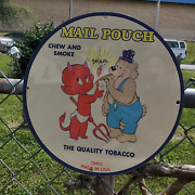Vintage 1960 Mail Pouch Quality Tobacco Chew And Smoke Porcelain Gas And Oil Sign