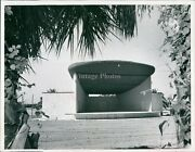 1957 Bandshell Clearwater Building Flowers Trees Vintage Business Photo 7x9