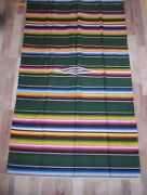 Antique Handwoven Mexican 48x84 Saltillo Serape Wool Rug Blanket Wall Hanging