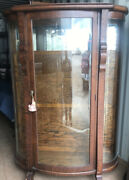 Antique Curved Glass Curio Cabinet With Key Gorgeous Five Shelf Wooden Wheels