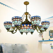 Baroque 9 Lights Chandelier Stained Glass Pendant Ceiling Light 37