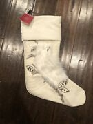 Nwt Pottery Barn Woodland Owl Beaded Crewel Faux Fur Stocking Mono Removed