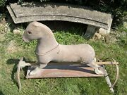 Early Antique Wood Childrens Toy Hobby Horse With Glass Eyes