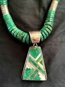 N.p. Coriz Sterling Silver Turquoise Inlay Pendant Bead Necklace