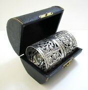 Pair Antique English Victorian Style Sterling Silver Pierced Napkin Rings, Cased