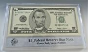 1999 5 Federal Reserve Star Note Chicago In Pcs Stamps And Coins Holder