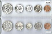 1950-p Us Silver Mint Set - 5 Choice Bu Coins In Whitman Plastic Holder
