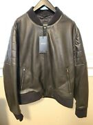 New And Authentic Mens Hugo Boss Leather Bomber Jacket In Black Size 42r