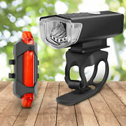 Solar Powered Lights Usb Rechargeable Led Bicycle Headlight Bike Front Rear Lamp