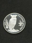 1 Rouble 1993 L лмд Russia Proof Silver Red Data Book - Fish Eagle-owl