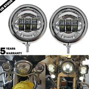 4.5and039and039 Motorcycle Led Fog Spot Lights W/ 4-1/2inch Housing Bracket For Harley