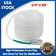 1/4 X 50and039 Heavy Duty Three Strand Braided Anchor Rope Boat Lines Dockline Kit