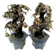 Jade Trees Cloisonne Chinese Antique Pair Qing