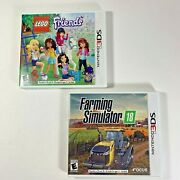 Farming Simulator 18 And Lego Friends Lot Nintendo 3ds W/ Cases And Manuals