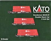 N Scale Kato 106-6178 Bnsf Maxi-iv 3-unit Well Car W/6 Red Hub Containers