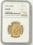 1911-s 10 Indian Head Pre-33 Gold Eagle Ngc Au58 Ultra Low Mintage 51000