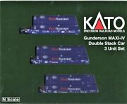 N Scale Kato 106-6179 Pacer Gunderson Maxi-iv 3-unit Well Car W/6 Containers