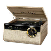 Reclaimed Wood Finish- Farmhouse Walnut Built-in Stereo Bluetooth Record Player
