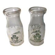 Lot Of 2 Acl Clover Brand Dairy Products Half Pint Milk Bottles Road To Health