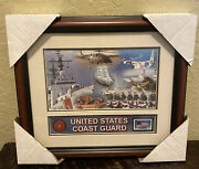 Us Coast Guard Rare Framed Art Work Plus Usps Commemorative Stamp And Pin